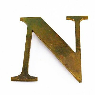 "Vintage Solid Brass Shop Letter N, 6"" Reclaimed Architectural Salvage, Sign, MCM"