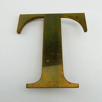 "Vintage Solid Brass Shop Letter T, 6"" Reclaimed Architectural Salvage, Sign, MCM"