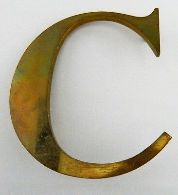 "Vintage Solid Brass Shop Letter C, 6"" Reclaimed Architectural Salvage, Sign, MCM"