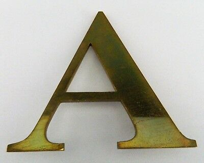 "Vintage Solid Brass Shop Letter A, 6"" Reclaimed Architectural Salvage, Sign, MCM"