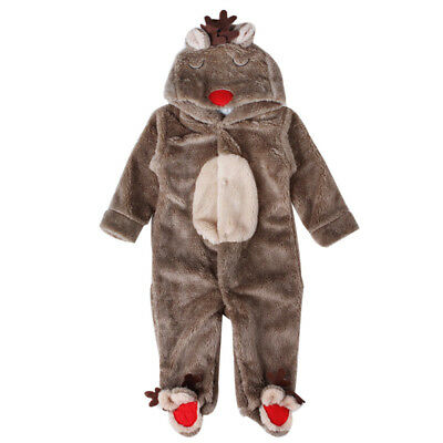 Newborn Baby Clothes Girl Boy Deer Romper Winter Warm Outwear Outfits Coffee US