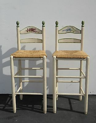 Pair Vintage French Country Cottage White Rush Seat BAR STOOLS Barstools