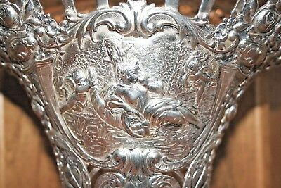 Antique German Silver Brides basket with cherubs and etched crystal liner