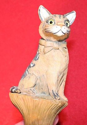 Antique Carved wood automaton Cat parisol umbrella S. FOX & CO PARAGON (motion)