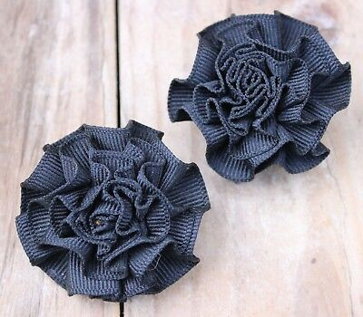 Vintage Shoe Clips Pair Black Ribbon 50s 60s Accessories Gift Ladies Womens