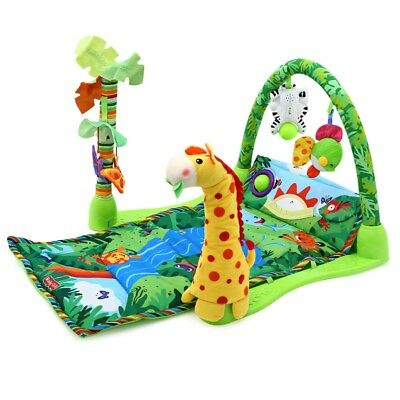 Kids Forest Gym Music Game Blanket Fitness Rack Floor Crawl Play Mat Cushion