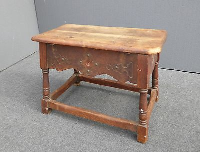 Vintage Monterey Style Carved Wood BENCH w Storage Space OTTOMAN