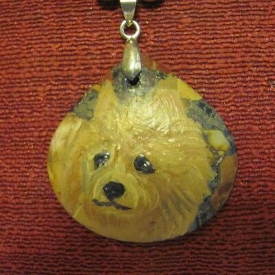 Australian Terrier hand painted on fat tear drop pendant/bead/necklace