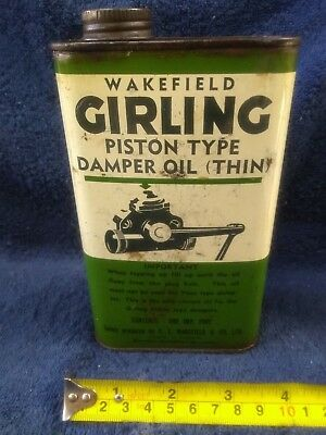 Wakefield Girling (Castrol) piston oil 1 imp pint. For oil petrol tin collector