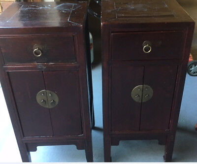 2 x ANTIQUE CHINESE WOOD HAND CARVED SIDE PEDESTALS