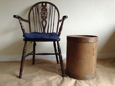 1960s Vintage Industrial Wooden Storage Bin Tub Barrel Container Factory Used