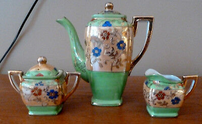 Vintage Japanese floral green and gold tea or coffee pot, sugar bowl, creamer