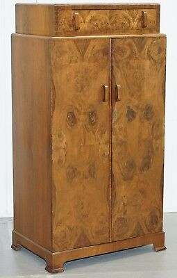 Antique Solid Walnut Tallboy Sized Mini Wardrobe Ideal For Hanging Suites Etc