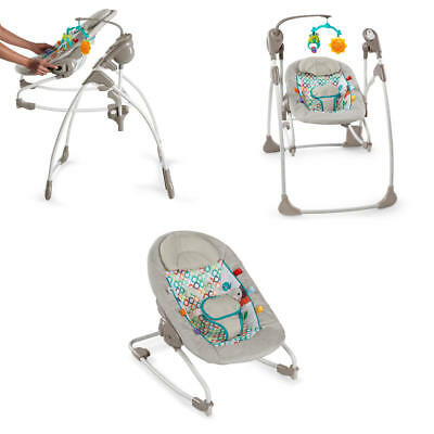 Baby Rock Swing 2 In 1 Jungle Stream Rocking Seat Comfy Sleep Sounds Melodies