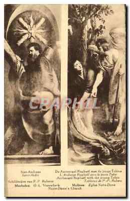 Vintage Postcard Saint Andreas the Archangel Raphael with the Tobie young perso