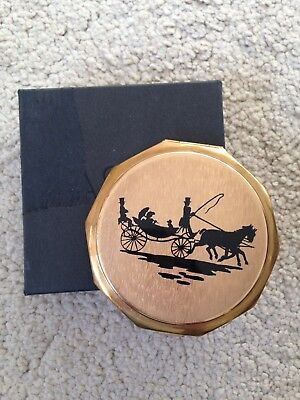 Stratton Vintage Convertible Powder Compact Silhouette Horse & Cart