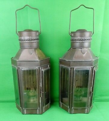 PAIR ANTIQUE BRASS SHIPS LANTERNS. STORM LIGHTS. Converted.