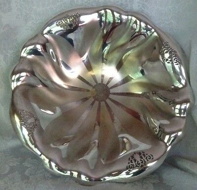 """Silverplated Dish/Bowl West Germany Large 13"""" -Reticulated Wave Design 3-Footed"""