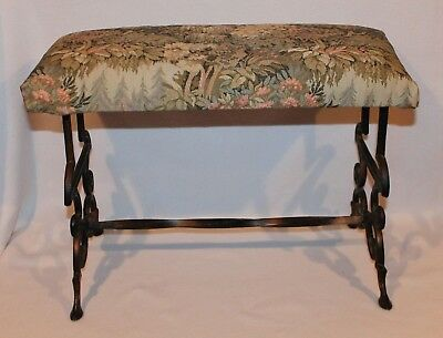 """Vintage 1930's Cast Iron Vanity Bench with Tapestry - 21"""" wide - very nice"""