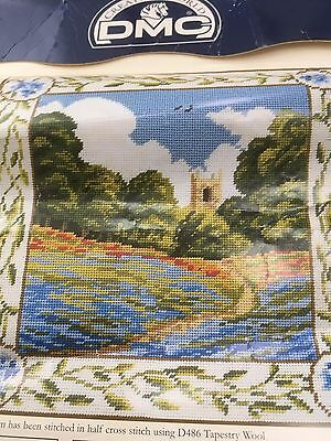 Printed Tapestry Needlepoint Canvas church in Linseed field design