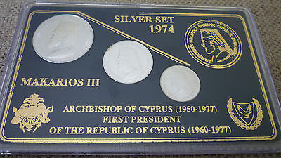 CYPRUS 1974 MAKARIOS £3, £6 and £12 SILVER COINS UNC SET IN SPECIAL CASE!!!