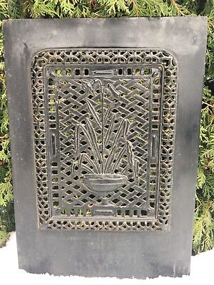 Large Victorian Ornate Cast Iron Fireplace Grate Antique Architecture Garden