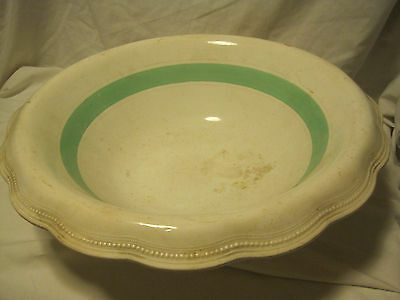 VTG E.P.P.&CO Wash Basin/Bowl  QUEENS LINE PRE 1910 CREAM W/GREEN STRIPE/BEADED