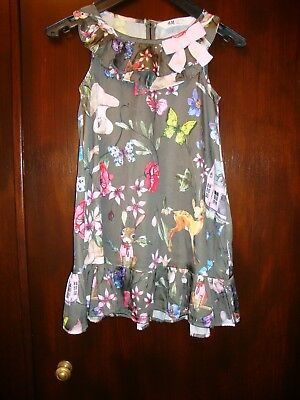 H&m Green With Forest Animals Design Sleeveless Dress Size Age 5-6 Years Old