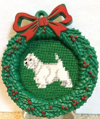 """Amazing & Rare Embroidered West Highland (""""Westie"""") Christmas Ornament"""