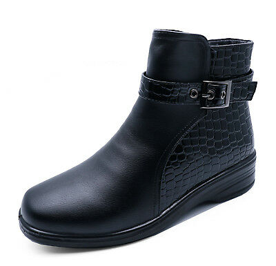 Ladies Black Low-Wedge Zip-Up Warm Fleece Lined Winter Ankle Calf Boots Size 3-8