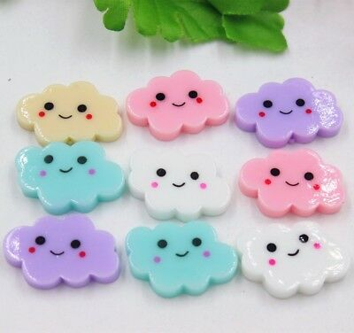10pcs/lot kawaii flat back resin cloud with smile DIY resin cabochons accessorie
