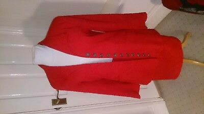 80s VINTAGE GINA SMART RED SKIRT SUIT SIZE 10/12.ROMAN COIN BUTTON DETAIL.