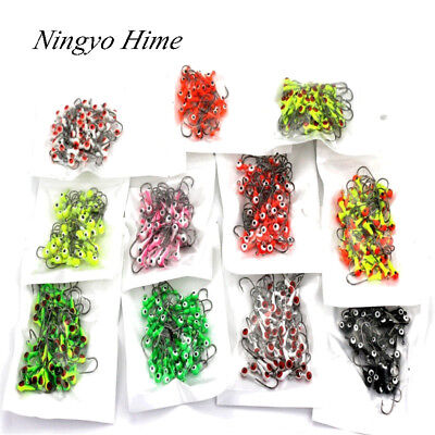 50Pcs/lot Winter Ice Fishing Lure Mini Metal Lead Head Hook Bait Jigging Lure Ho