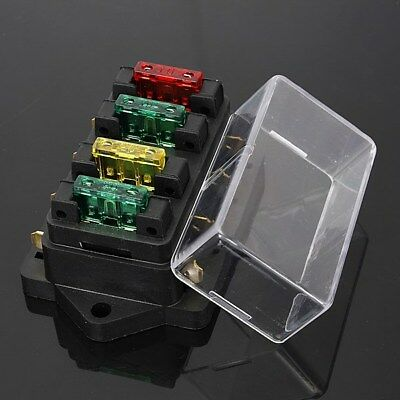 4 WAY FUSE Holder Box Car Vehicle Circuit Automotive Blade Fuse Box  Blade Automotive Fuse Box on led car fuses, automotive blade connectors, automotive glass fuses, different types of fuses, types of automatic fuses, mini blade fuses, buss automotive fuses, dimensions of blade fuses,