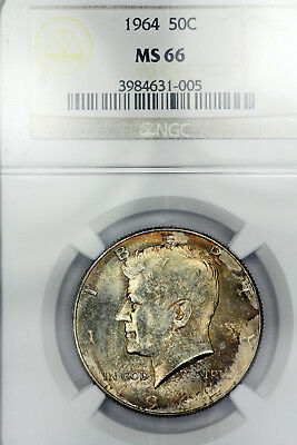 1964-P MS66 Kennedy Half Dollar 50c graded by NGC, Choice Toning!