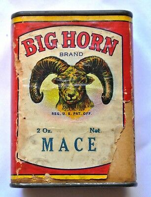 Vintage Big Horn Brand Mace 2oz Spice Tin Can