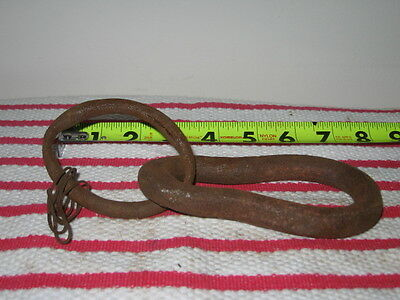 "Antique Heavy Duty Wrought Iron 5 1/4"" Eye Loop 5/8"" Thick w 3"" Ring Barn Find"