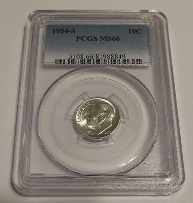 Certified PCGS MS66 Roosevelt dime, 1954-S Uncirculated, BEAUTIFUL Blast White!