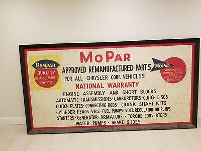 Rare Vintage 1940s Mopar Chrysler Plymouth Dodge Gas Oil PAINTED WOOD SIGN WOW