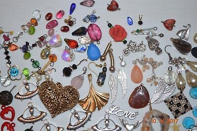 Charms Lot of 203 Vintage Jewelry Rhinestone Glass Metal Plastic 925