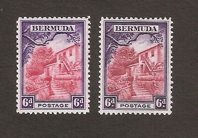 BERMUDA 1936-51 6d PICTORIAL DEFINITIVE SHADES SG104 LIGHTLY MOUNTED MINT