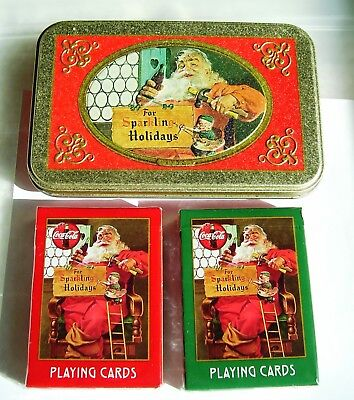 1998 Coca-Cola Santa Christmas Tin w/ 2 Packs New Unopened Playing Cards