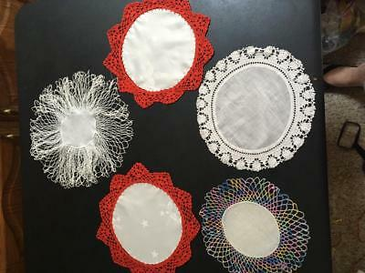 """Vintage Group of Five Hand Crocheted Doilies with Fabric Centers 9 to 13"""" Diam."""