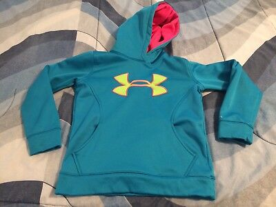 Under Armour Girls Sz Small Hoody Hoodie Teal X Storm Pre Owned