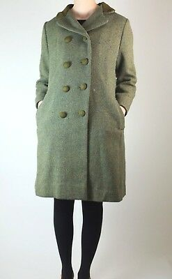 Vintage women's double breasted coat tweed green 60s heavy military sz M 70s vtg
