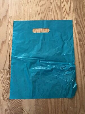 "Teal Blue Plastic Shopping Merchandise Bags (Set Of 7) 12"" X 15"""