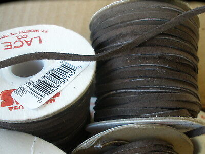 """Dark Brown Tejas Suede Lace Leather 1/8"""" Necklace Cord 25 yds 5020-02 DIY USA"""
