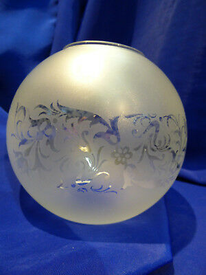 GLOBE DE LAMPE A PETROLE EN VERRE SATINE & DECOR . H 115 mm D 60 mm. REF 5066
