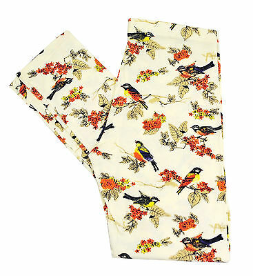 Girls Ex H&M Leggings Cotton Bird Print Ivory White Size Age 8 to 15 Years Kids