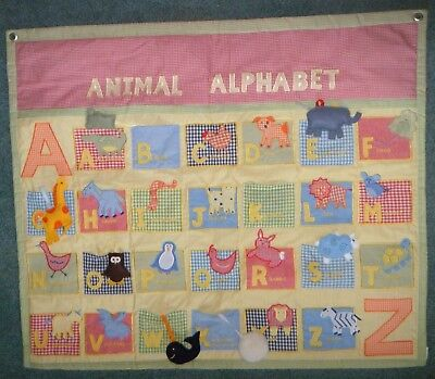 Pottery Barn Kids PBK Animal Alphabet A to Z Wall Hanging Gingham Interactive